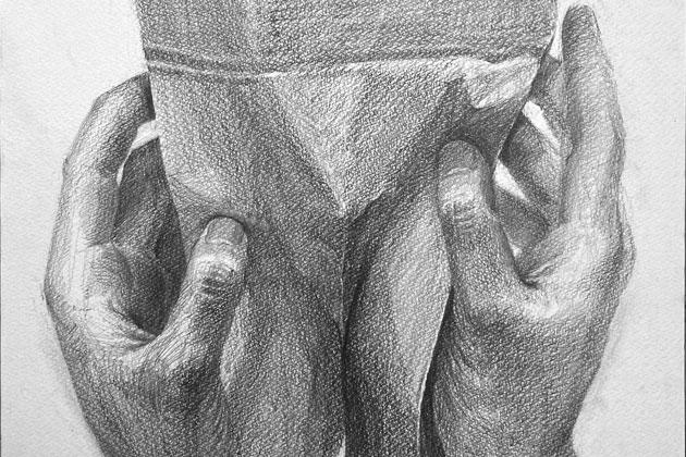 「紙袋を持つ手」のデッサン:制作プロセス